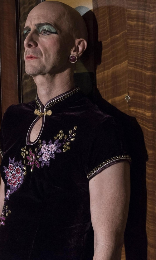 Denis O'Hare with Black Temptation Sexy Embroidered Chinese Cheongsam Costume in American Horror Story