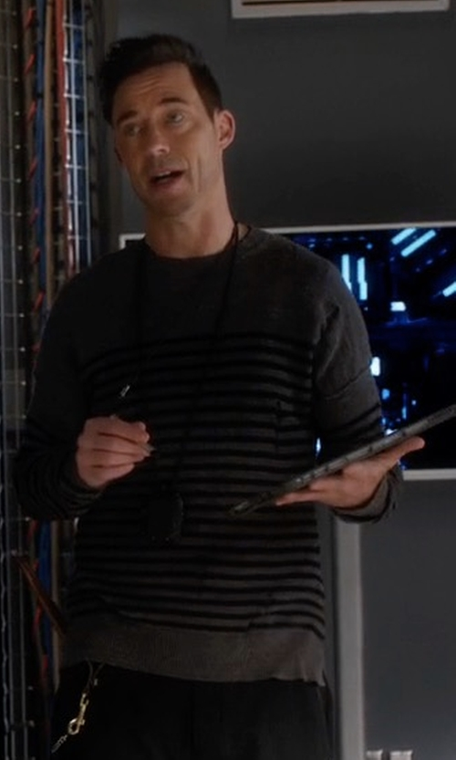 Tom Cavanagh with AllSaints Coast Crewneck Stripe Distressed Sweater in The Flash