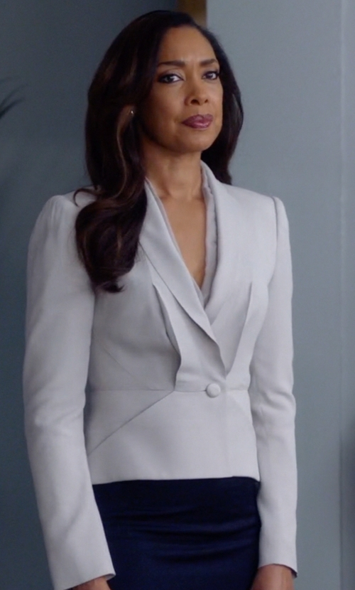 Gina Torres with Sharon Wauchob Wrap Hanging Lace Detail Blazer in Suits