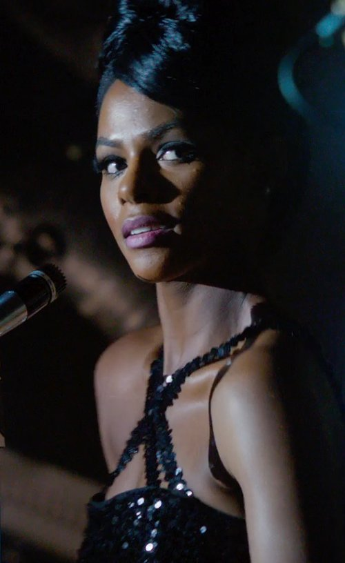 Tika Sumpter with Michael Kors Sequined Cross-Neck Slit Gown in Get On Up