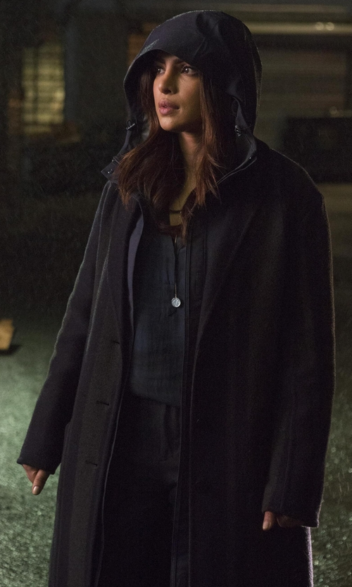 Priyanka Chopra with DKNY Long Tailored Wool-Blend Coat in Quantico