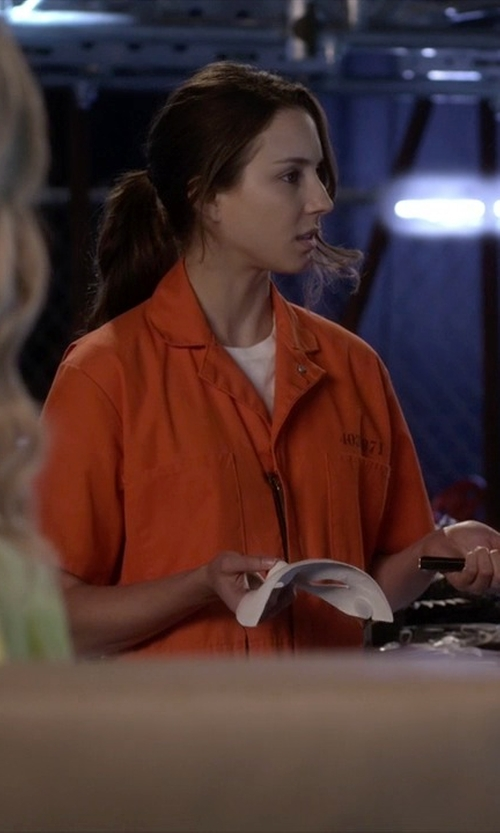 Troian Bellisario with Hanes Solid Cotton T-Shirt in Pretty Little Liars