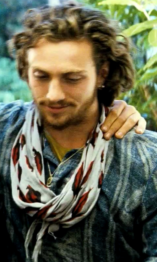 Aaron Taylor-Johnson with Ralph Lauren Bandanna-Print Sport Shirt in Savages