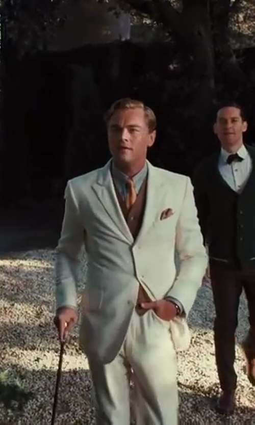 Leonardo DiCaprio with Catherine Martin (Costume Designer) and Brooks Brothers (Tailor) The Great Gatsby Collection Light Brown Linen Vest in The Great Gatsby