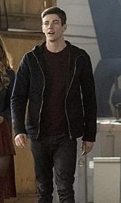 Grant Gustin with James Perse Cotton-Knit Zip Hoodie in The Flash