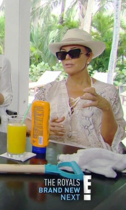 Kris Jenner with Eugenia Kim Lillian Flexible-Brim Straw Fedora in Keeping Up With The Kardashians