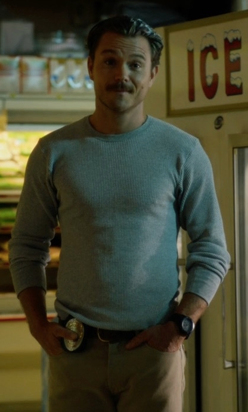 Clayne Crawford with Neiman Marcus Cashmere-Silk Crewneck Sweater in Lethal Weapon