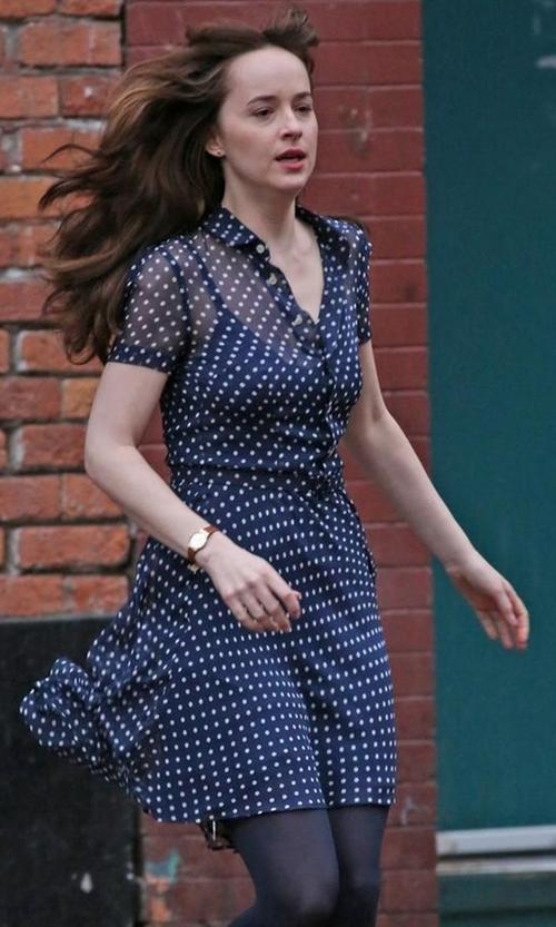 Dakota Johnson with Ralph Lauren Polka-Dot Silk Georgette Dress in Fifty Shades Darker