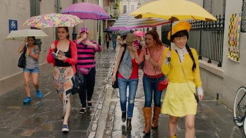 Hana Mae Lee with J. Crew Yellow Skirt in Pitch Perfect 2