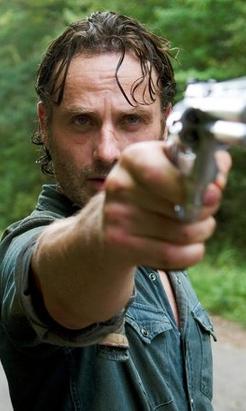 Andrew Lincoln with The Kooples Fleece Denim Sportshirt in The Walking Dead