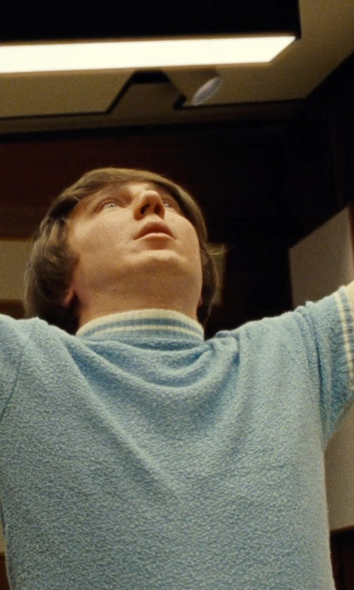 Paul Dano with Carnoustie Sportswear Microstripe Jersey Short Sleeve Shirt in Love & Mercy