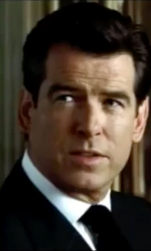 Pierce Brosnan with Ralph Lauren Solid Silk Repp Tie in The World is Not Enough