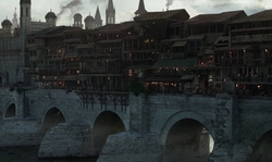 Alfie Allen with Roman Bridge of Córdoba (Depicted as Volantis) Córdoba, Spain in Game of Thrones