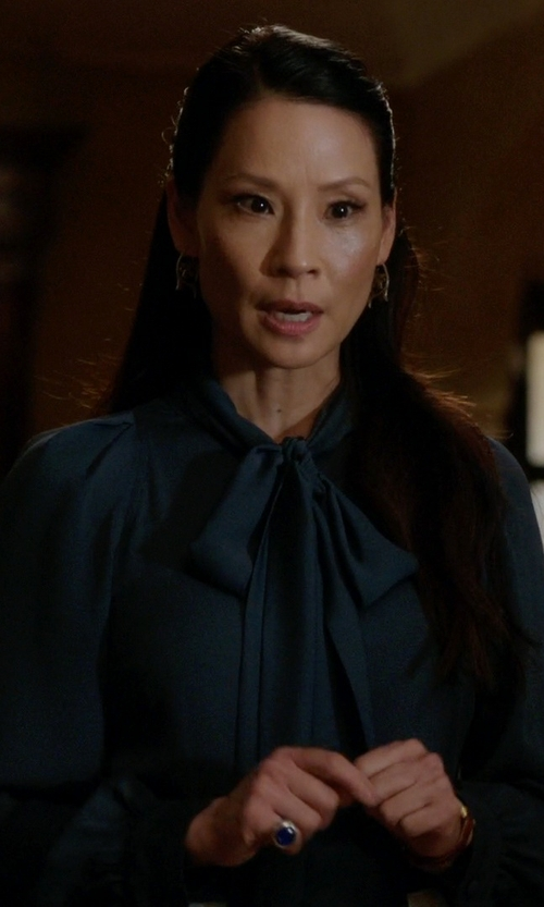 Lucy Liu with Gucci Pussy Bow Silk Georgette Top in Elementary