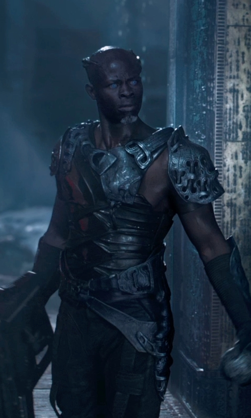 Djimon Hounsou with Alexandra Byrne (Costume Designer) Custom Made Korath the Pursuer Costume in Guardians of the Galaxy