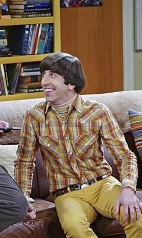 Simon Helberg with Urban Outfitters Salt Valley Chuckles Plaid Western Shirt in The Big Bang Theory