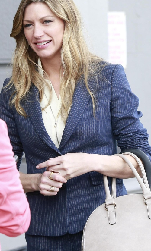 Jes Macallan with Dominew Pinstriped Suit in Mistresses