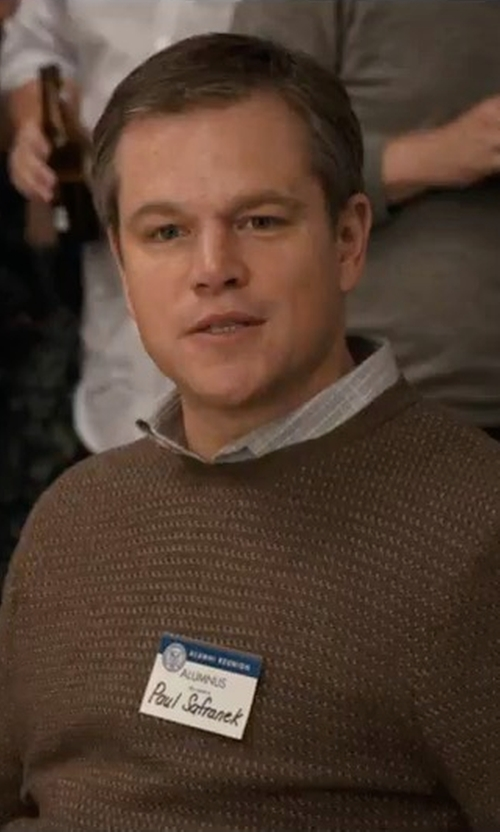 Matt Damon with John Varvatos Collection Waffle Knit Sweater in Downsizing