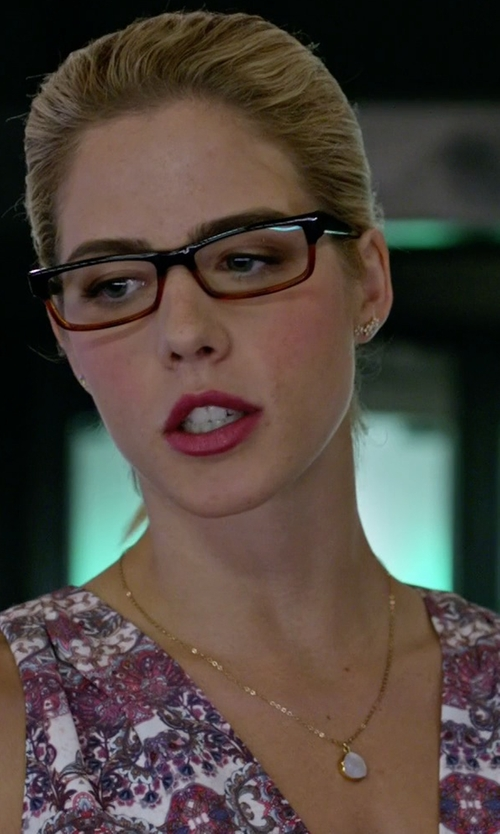 Emily Bett Rickards with Brooklyn Designs Leandra Necklace in Arrow