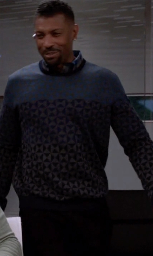Deon Cole with Gap Lambswool Fair Isle Crew Sweater in Black-ish