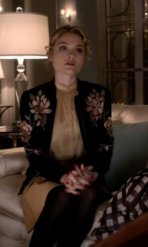 Skyler Samuels with Topshop Floral Embroidered Bomber Jacket in Scream Queens