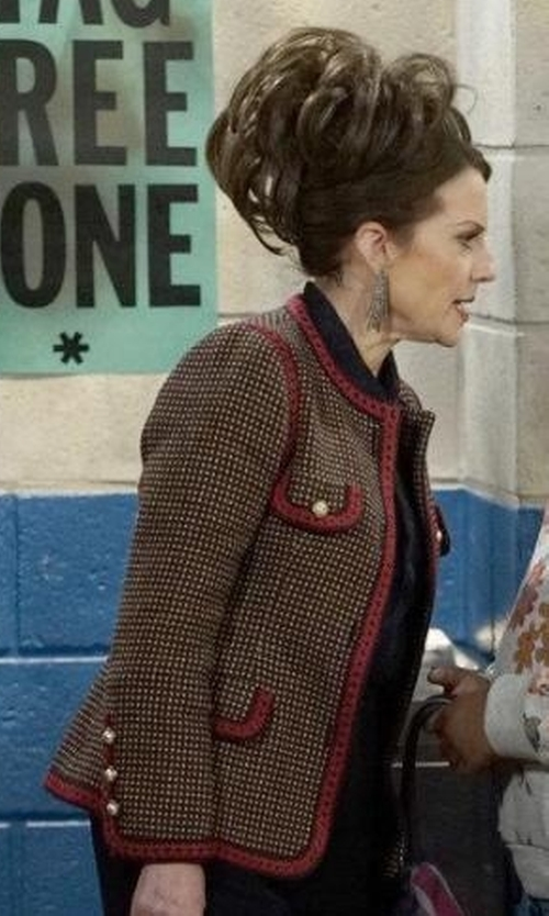 Megan Mullally with Gucci GG Bengal Tiger Back Jacket in Will & Grace