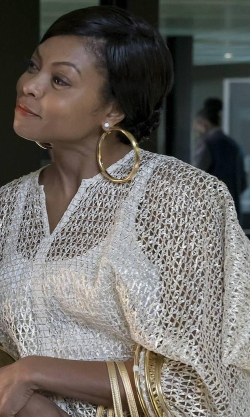 Taraji P. Henson with Vince Cashmere-Blend V-Neck Poncho in Empire
