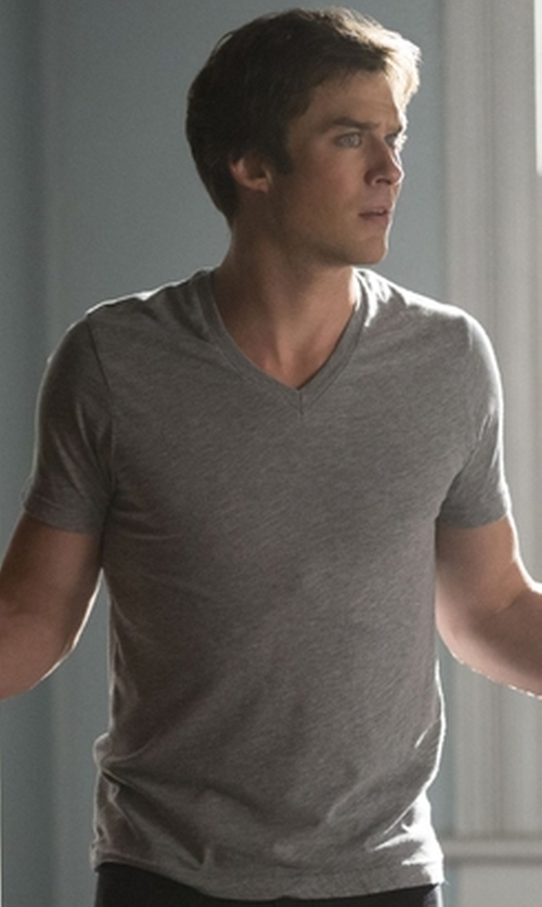 Ian Somerhalder with Dolce & Gabbana Classic V-Neck T-Shirt in The Vampire Diaries