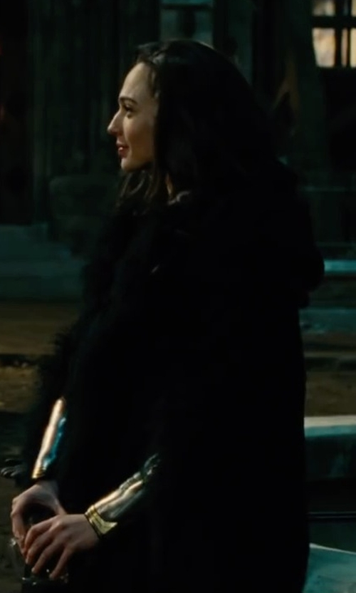 Gal Gadot with Adrienne Landau  Knit Rabbit Fur Coat  in Wonder Woman