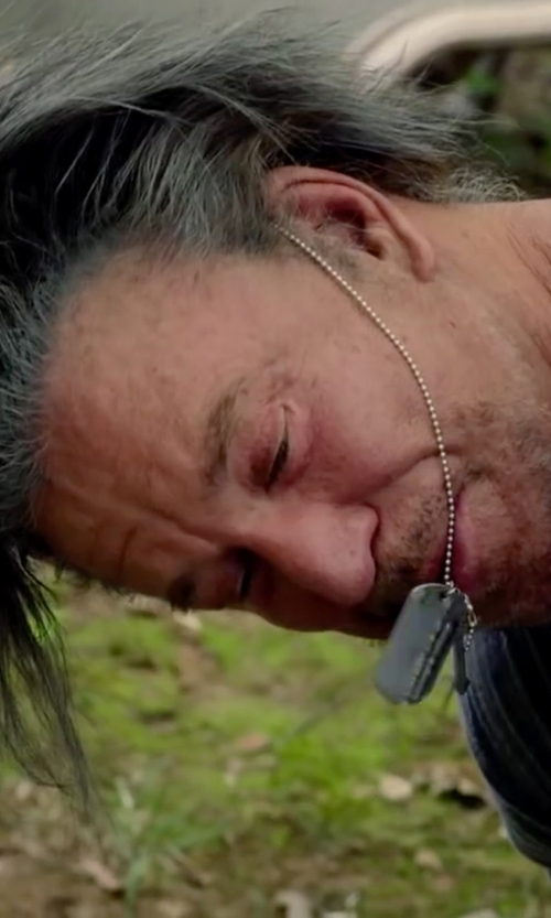 Mickey Rourke with Crucible Stainless Steel Dog Tag Necklace in Ashby