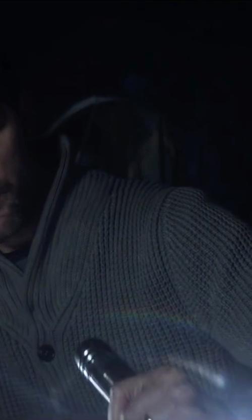 Adam Scott with Neiman Marcus Shawl-Collar Textured Cashmere Pullover Sweater, Gray in Krampus
