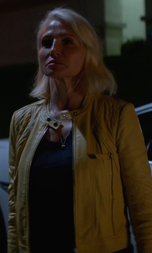Ellen Barkin with Rebecca Taylor Patched Leather Jacket in Animal Kingdom