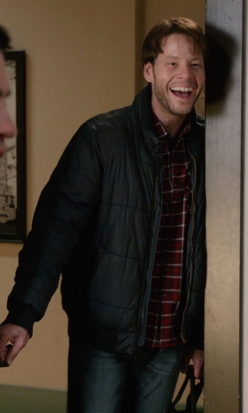 Mark Duplass with Michael Kors Hooded Puffer Jacket in The Mindy Project