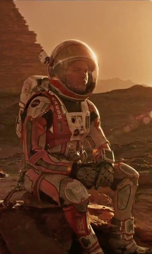 Matt Damon with Janty Yates (Costume Designer) Custom Made Astronaut Suit (Mark) in The Martian