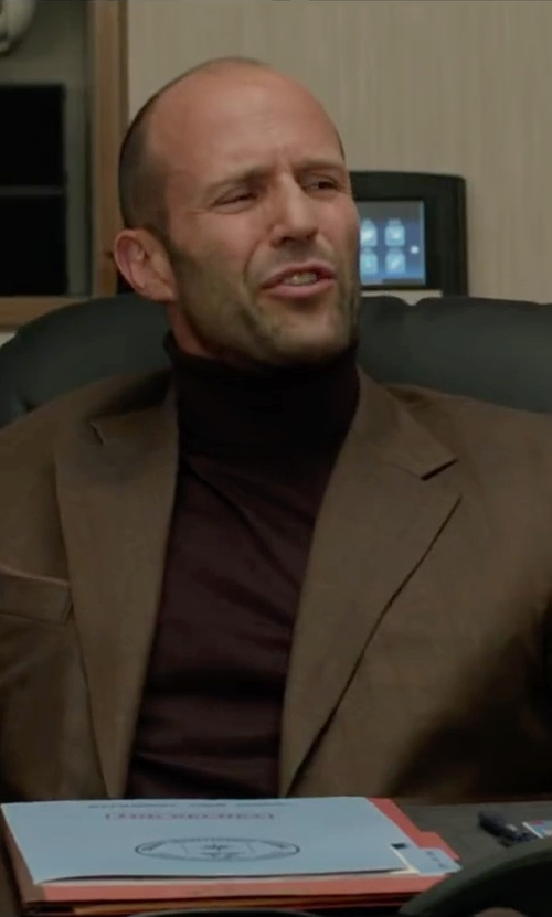 Jason Statham with Polo Ralph Lauren Purple Label Red Maroon Turtleneck Sweater in Spy