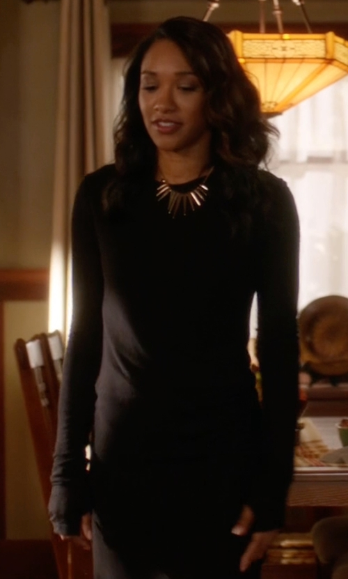 Candice Patton with 5th & Mercer Long Sleeve Dress in The Flash