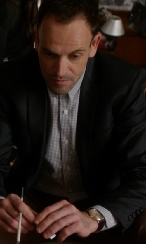 Jonny Lee Miller with Franck Muller Classic Round Leather Strap Watch in Elementary