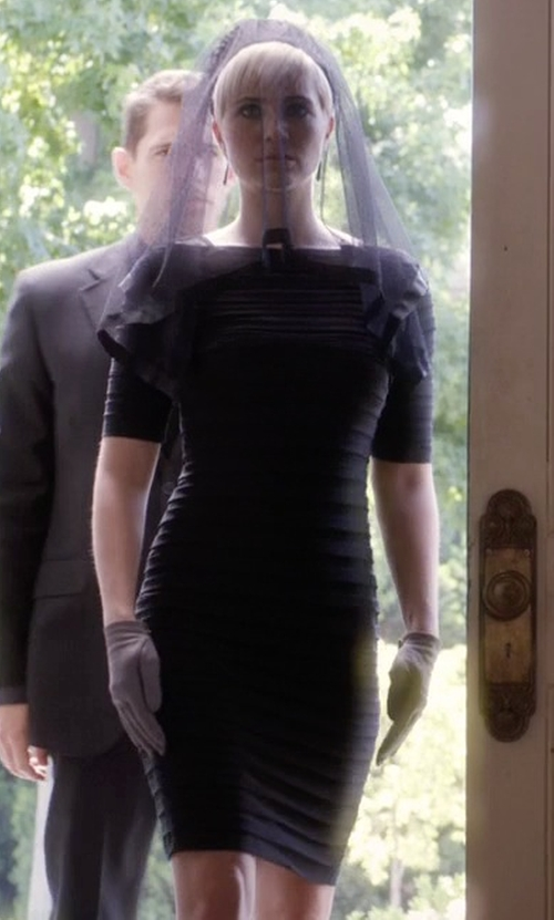 Dre Davis with Adrianna Papell  Pleated Illusion Sheath Dress in Pretty Little Liars