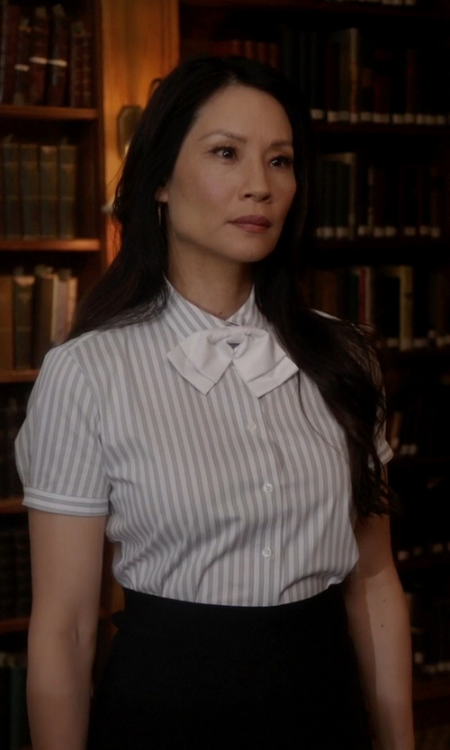 Lucy Liu with Robert Friedman Striped Shirt in Elementary
