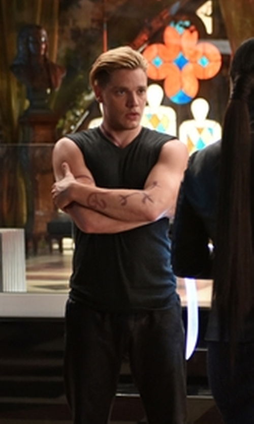 Dominic Sherwood with Alexander Simai 'Fashion Gym' Muscle Tank Top in Shadowhunters