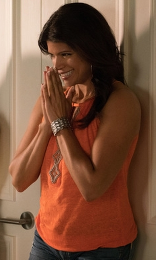 Andrea Navedo with Inc International Concepts Beaded Keyhole Linen Halter Top in Jane the Virgin