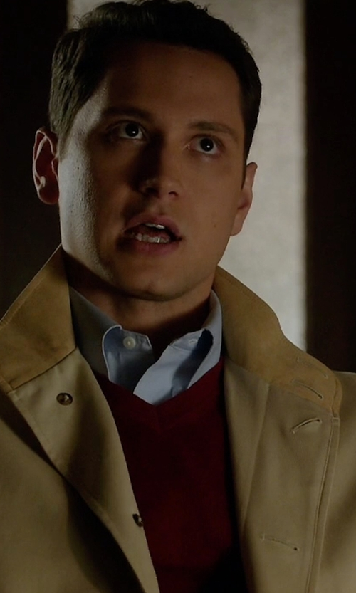 Matt McGorry with Burberry Brit Dockley Wool V-Neck Sweater in How To Get Away With Murder