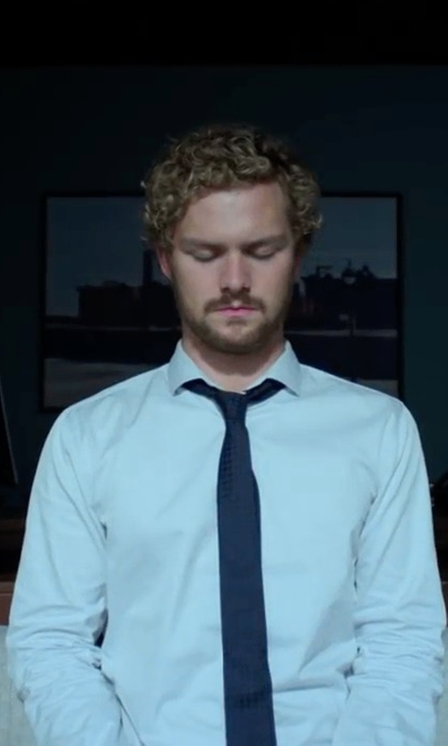 Finn Jones with Versace Button-Front Solid Dress Shirt in Marvel's Iron Fist