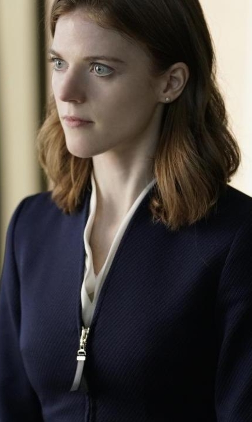 Rose Leslie with Joan Vass Stretch Interlock Zip-Front Jacket in The Good Fight