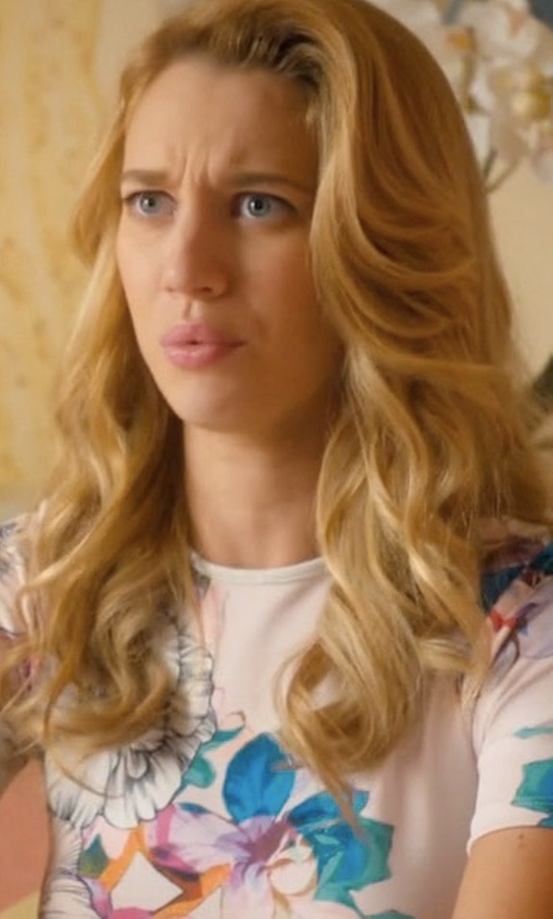 Yael Grobglas with Asos Floral T-Shirt Scuba Bodycon Midi Dress in Jane the Virgin