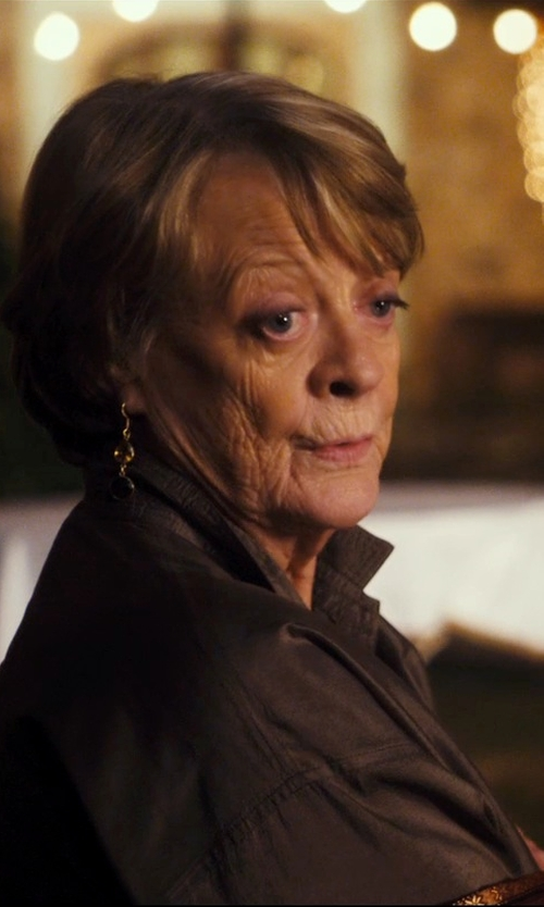 Maggie Smith with Excelled Leather Button-Front Jacket in The Second Best Exotic Marigold Hotel