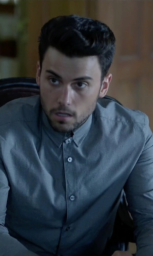Jack Falahee with Paul Smith London Blue Micro-Print Cotton Shirt in How To Get Away With Murder