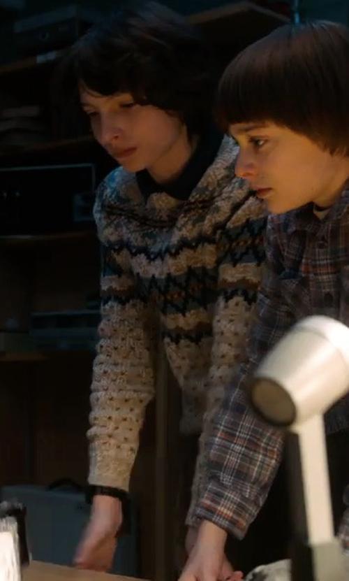 Finn Wolfhard with River Island Fairisle Knit Sweater in Stranger Things