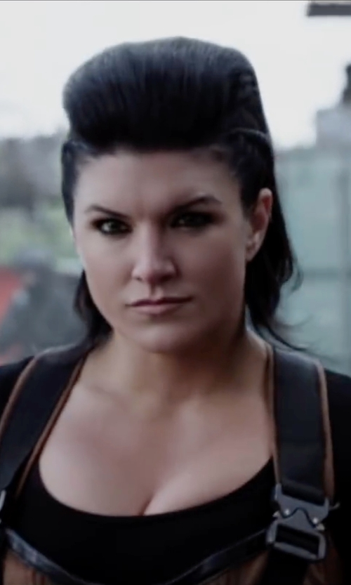 Gina Carano with Eileen Fisher Scoop Neck Tee Shirt in Deadpool
