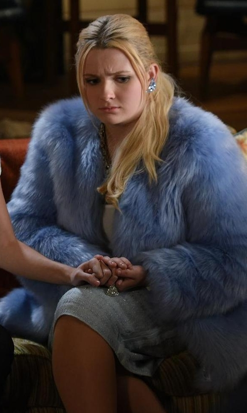 Abigail Breslin with Pello Bello  Fluffy Feather Jacket in Scream Queens